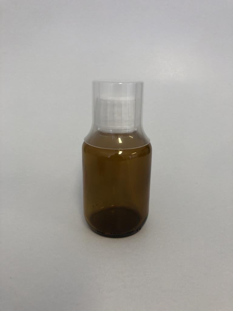 Braunglasflasche 100 ml / inklusive Originalitätsverschluss und Messbecher