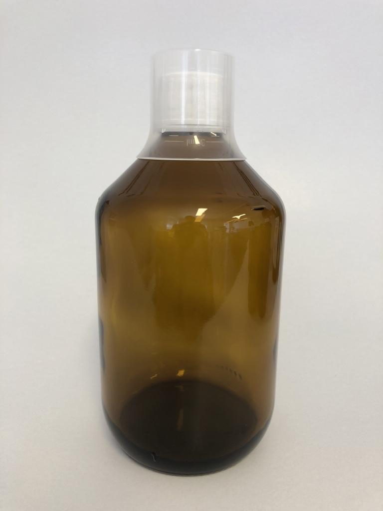 5x Zylindrische Braunglasflasche 500 ml + Originalitätsverschluss + Messbecher