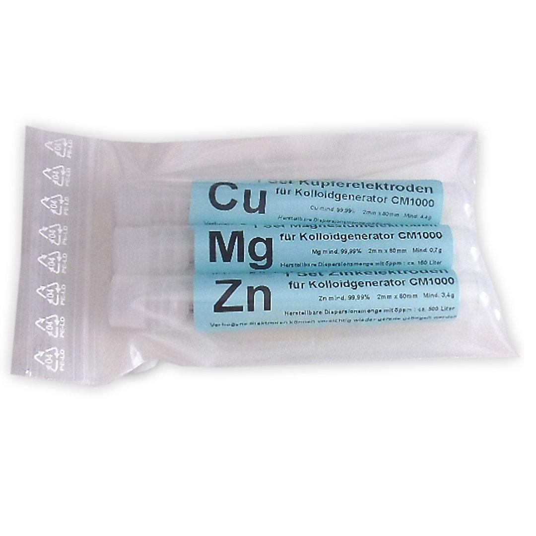 Elektroden Set Magnesium, Kupfer, Zink (je 2mmx80mm)