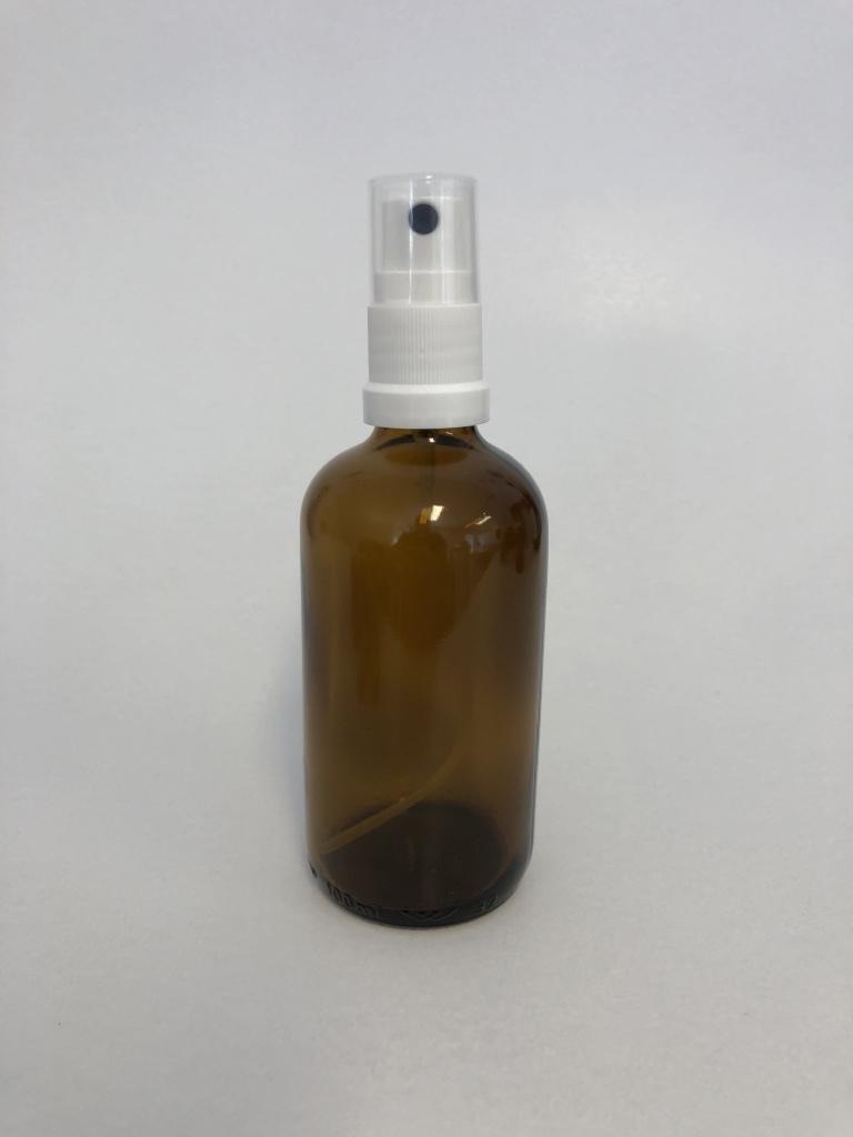 Braunglasflasche 100 ml / inklusive Sprühkopf + Abdeckkappe