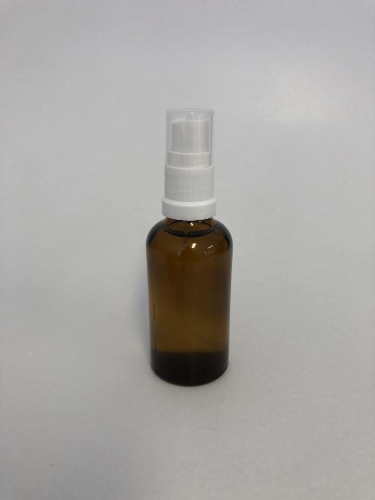 Braunglasflasche 50 ml / inklusive Sprühkopf + Abdeckkappe